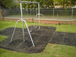 Grass Mat Playground Flooring under Swings