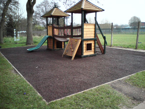 Bonded Rubber Mulch Playground Flooring in a School