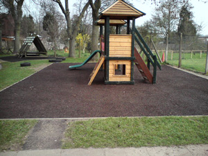 Bonded Rubber Mulch Play Surface in a School