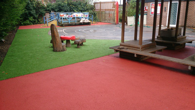 Wet Pour Rubber Surfaces in a School