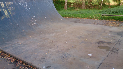 Dents in half pipe filled & ground smooth